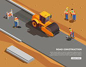 Builders and surveyors with machinery and warning signs during road construction isometric composition vector illustration
