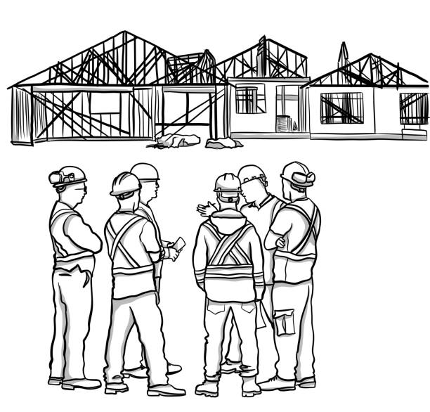 Construction Workers Meeting vector art illustration