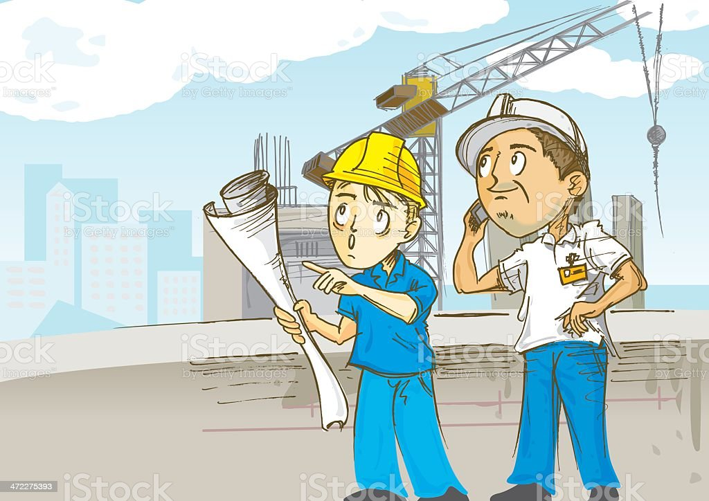 Construction Workers on Site vector art illustration