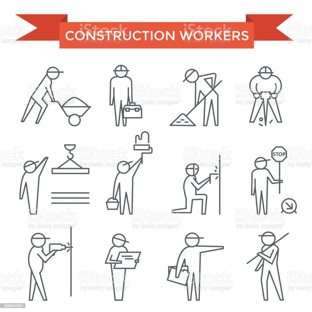 Construction workers set. vector art illustration