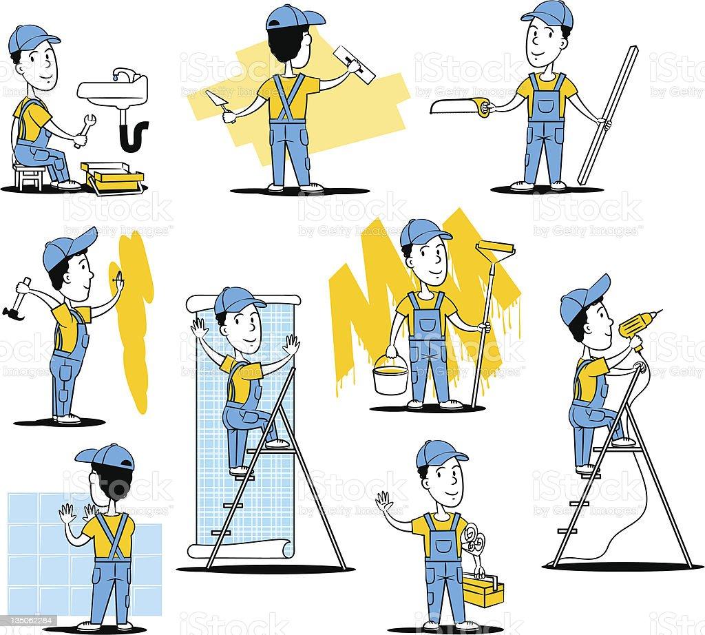 Trabalhadores de construção - ilustração de arte em vetor
