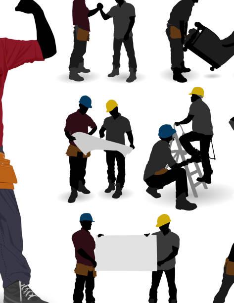 bildbanksillustrationer, clip art samt tecknat material och ikoner med construction workers - man architect computer