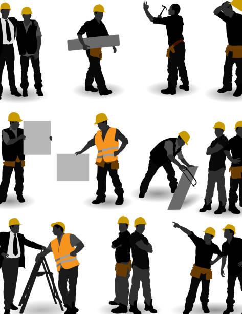 construction arbeiter - bauarbeiter stock-grafiken, -clipart, -cartoons und -symbole