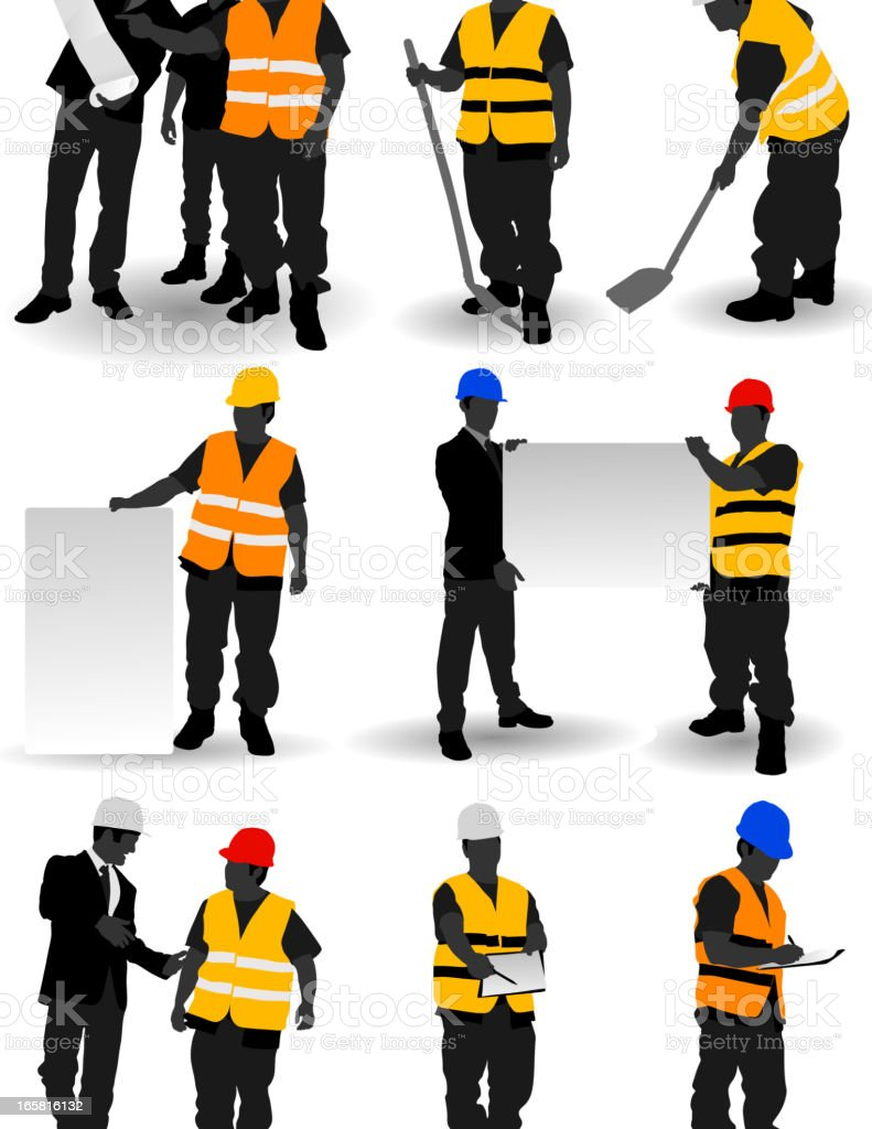Construction Workers vector art illustration