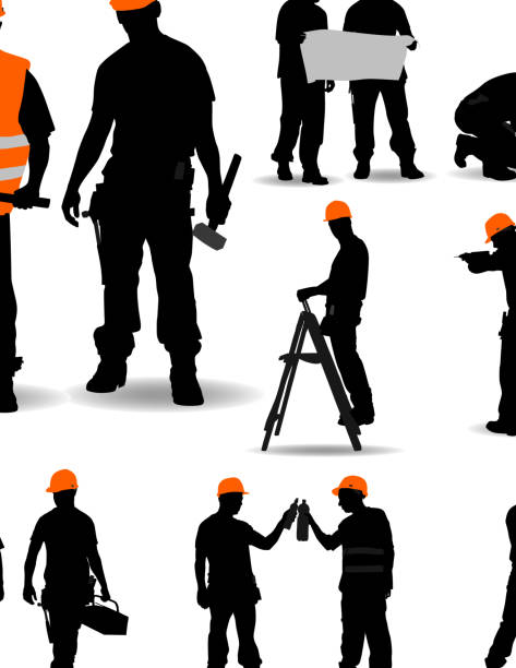 Trabajadores de la construcción. - ilustración de arte vectorial