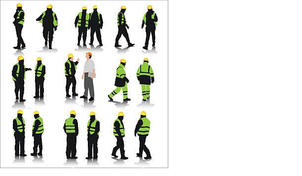 pracowników budowlanych - kask ochronny odzież ochronna stock illustrations