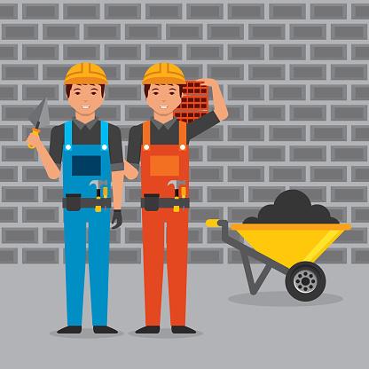 construction workers with helmet overalls spatula bricks wheelbarrow