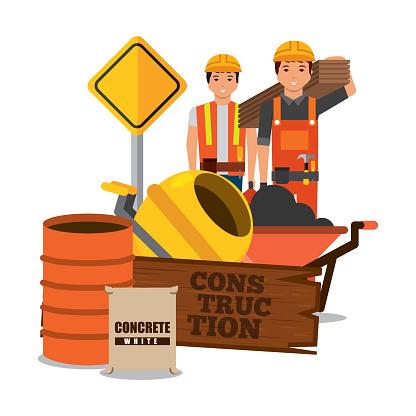 construction workers wooden barrel sack concrete mixer sing road