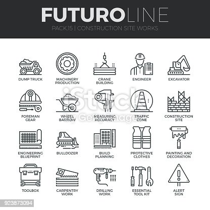 Modern thin line icons set of construction works on site and building tools. Premium quality outline symbol collection. Simple mono linear pictogram pack. Stroke vector symbol concept for web graphics.