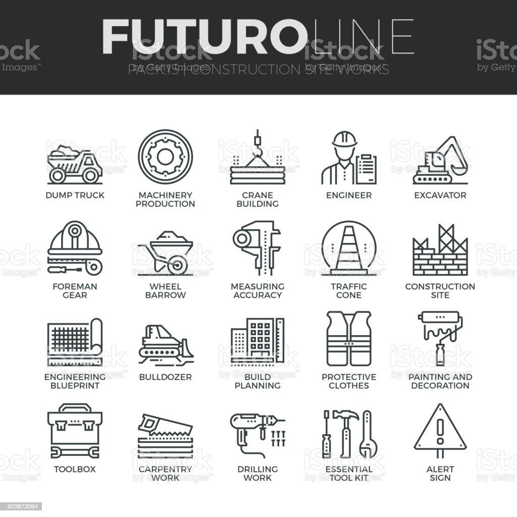Construction Works Futuro Line Icons Set vector art illustration