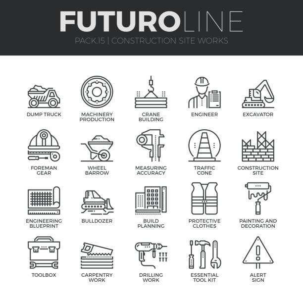 construction works futuro line icons set - architecture symbols stock illustrations