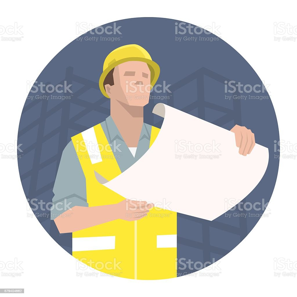 construction_worker_pointing vector art illustration