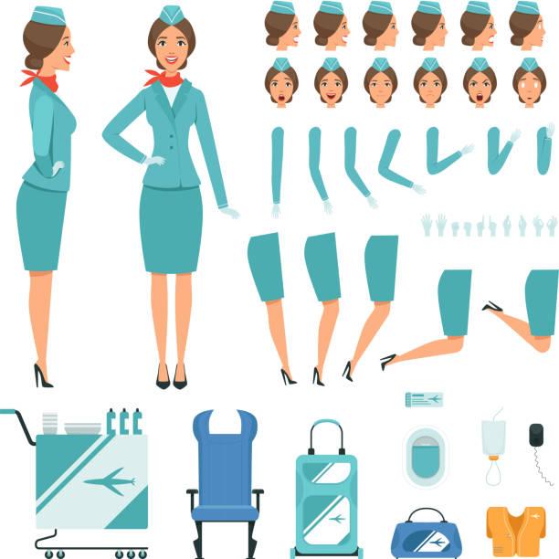 stockillustraties, clipart, cartoons en iconen met tekens in de constructor van stewardess. vector mascotte creatie kit - stewardess