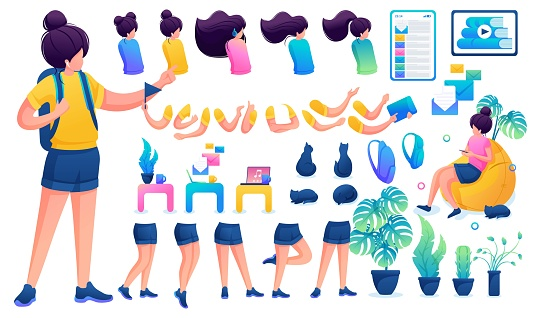 Constructor for creating a young teen girl. Create your own beautiful girl character with a set of hands and feet. Flat 2D vector illustration N2