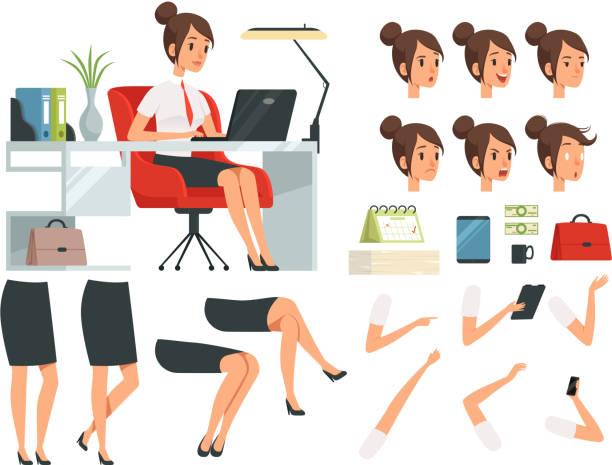 ilustrações, clipart, desenhos animados e ícones de construtor de mulher de negócios. kit de criação de mascote dos desenhos animados de mulher de negócios - landscape creation kit