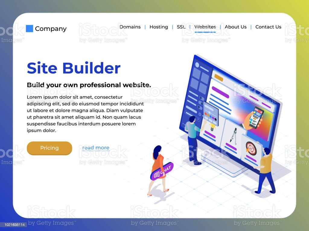 Constructor of web pages and websites. People in the flat 3d isometric style are working on creating the site. vector art illustration