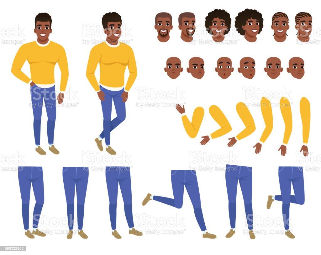 Konstruktor der junger schwarzer Mann. Mann im gelben Pullover und blaue Jeans. Schöpfung festgelegt. Körperteile, Frisuren und Gesichtsausdrücke. Flache Vektor Zeichentrickfigur – Vektorgrafik