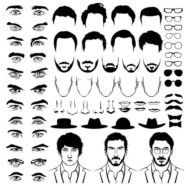 конструктор имеет сходный с мужчинами с низкой талией стрижки, очки, бороды, усы - глаз человека stock illustrations