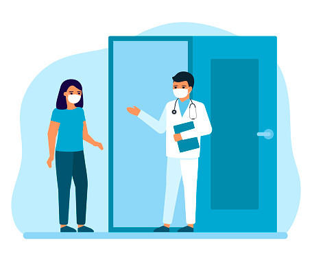 Consultation of woman patient at entrance to office, advice, doctors supervision. Appointment for medical injection, flu shots, virus vaccinations. Prevention and treatment to maintain health. Vector