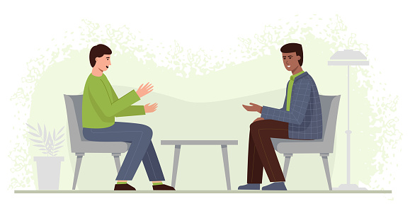 Consultation with a psychologist. Two men in chairs communicate and share their problems. Session with a coach. Support during the depression.