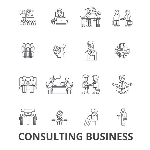 ビジネス、商談、ビジネス ソリューション、ビジネス コンセプト、チーム線アイコンをコンサルティングします。編集可能なストローク。フラットなデザイン ベクトル図記号の概念。分離線形の兆候 - 金融と経済点のイラスト素材/クリップアート素材/マンガ素材/アイコン素材