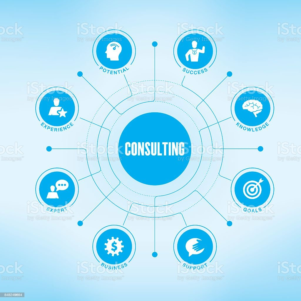 Consulting chart with keywords and icons vector art illustration