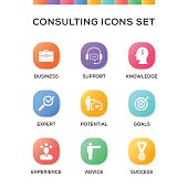 Consulting Icons Set on Gradient Background