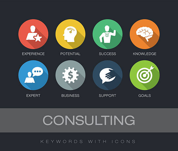 Consulting keywords with icons vector art illustration