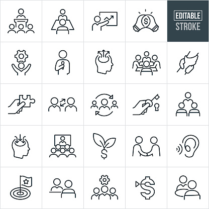Consulting Thin Line Icons - Editable Stroke