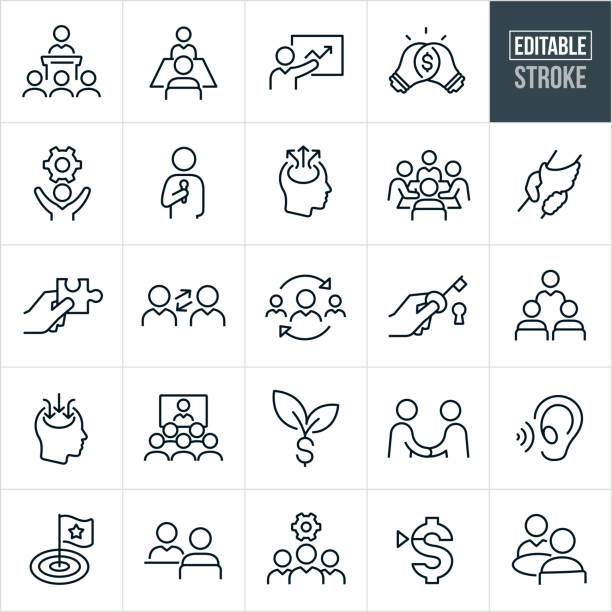 Consulting Thin Line Icons - Editable Stroke A set consulting icons that include editable strokes or outlines using the EPS vector file. The icons include business consultants, consultants consulting, consultant giving a presentation, giving a speech, giving a training and providing group as well as one on one consulting. they include the concept of consulting to boost productivity and increase company sales. training stock illustrations