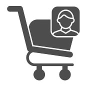 Consumer basket account glyph icon. Market trolley customer avatar. Commerce vector design concept, solid style pictogram on white background, use for web and app. Eps 10