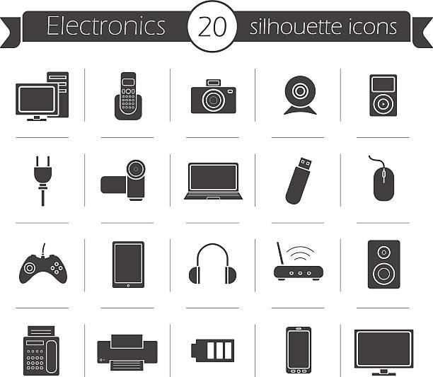 verbraucherelektronik schwarz silhouette icons set - tablet mit displayinhalt stock-grafiken, -clipart, -cartoons und -symbole