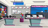 istock Consumer electronics store with showcase interior 1215845210