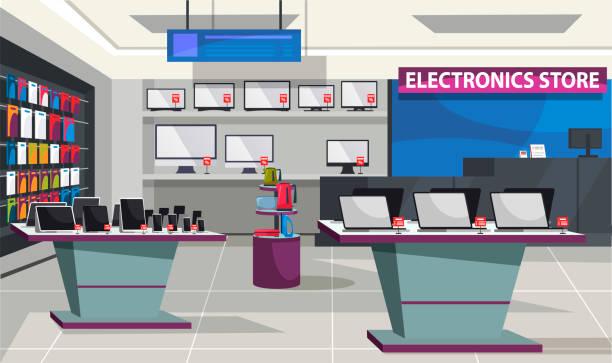 stockillustraties, clipart, cartoons en iconen met de elektronikaopslag van de consument met showcasebinnenland - warenhuis