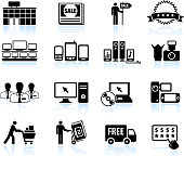 Consumer electronics super store sale black & white icon set
