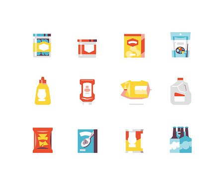 Consumer goods food flat icon series including popcorn, milk jug, ketchup, 6 pack, etc.