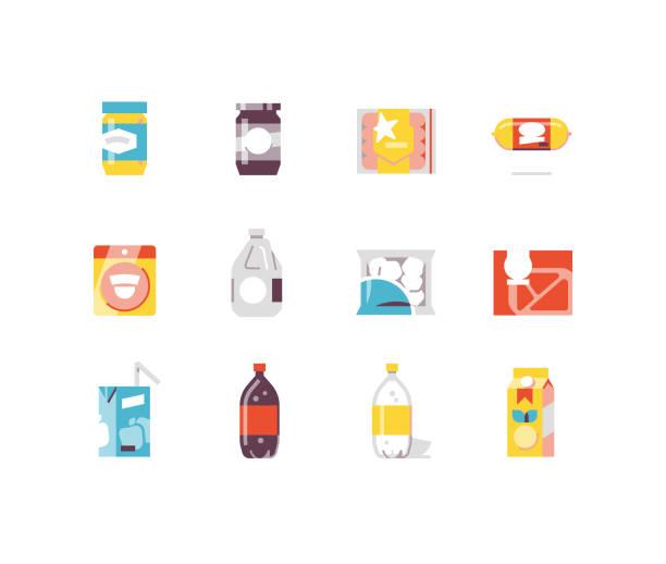illustrazioni stock, clip art, cartoni animati e icone di tendenza di consumer goods 2 - food flat icons - fruit juice bottle isolated