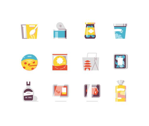 consumer goods 3 - essen flach symbole - dressing stock-grafiken, -clipart, -cartoons und -symbole