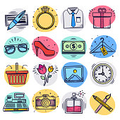 Consumer motivation and luxury consumption liquid doodle style outline symbols on color background. Vector icons set for infographics, mobile or web page designs.