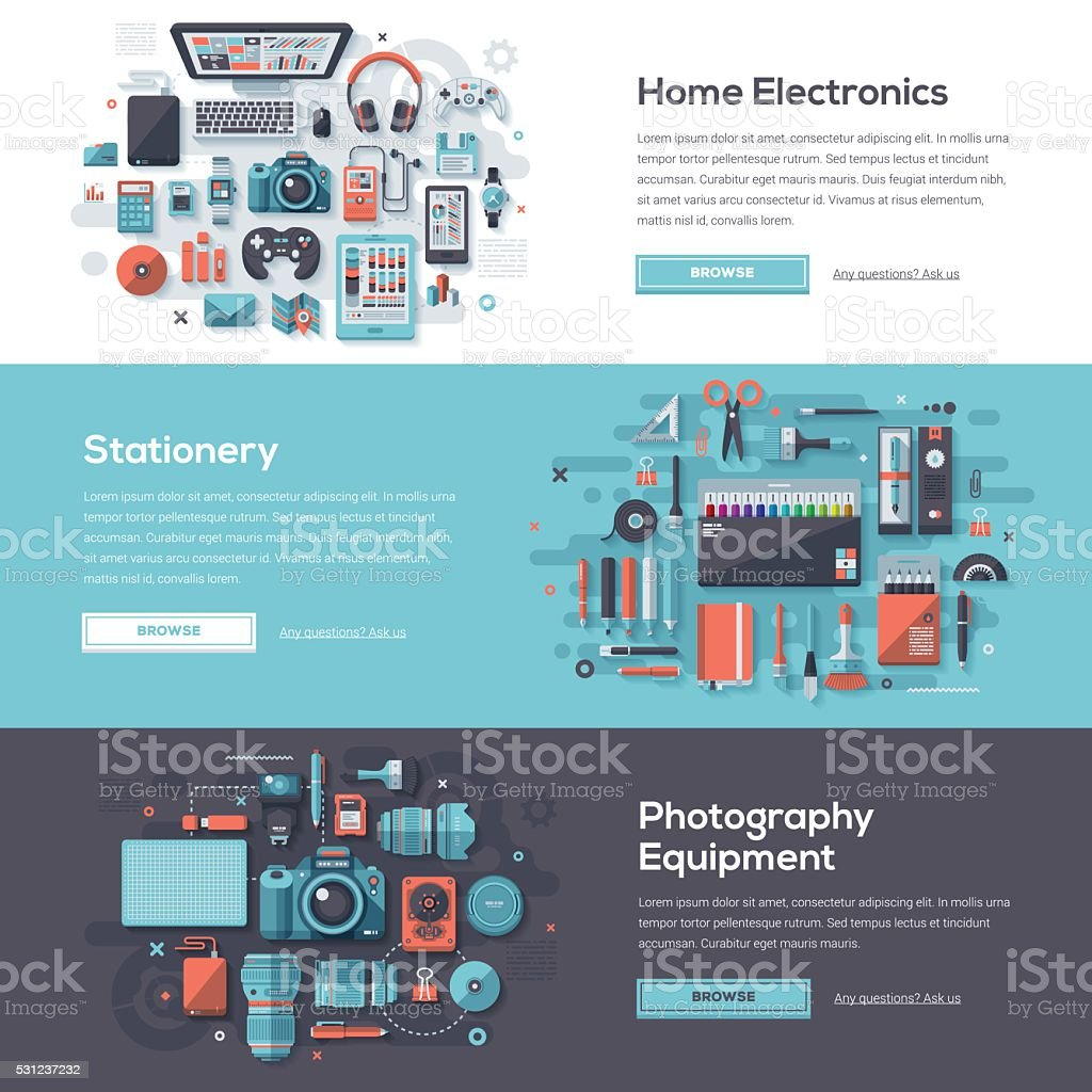 Consumer Products Web Banner Set vector art illustration