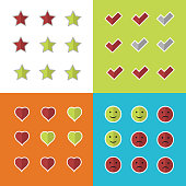 Consumer rating and satisfaction, clients feedback critique vector icons