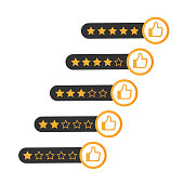 Consumer rating flat icon. Review star rating symbol. Vector stock illustration.