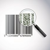 Consumerism with barcode and dollar signs