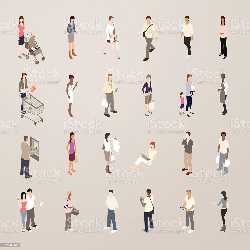 Consumers - Flat Icons Illustration vector art illustration