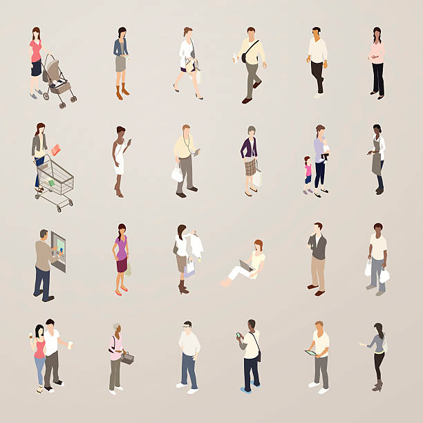 consumers - flat icons illustration - mathisworks people icons stock illustrations, clip art, cartoons, & icons