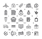 Consumers' shopping behavior outline style symbols with memphis decorations. Line vector icons set for infographics, mobile and web designs.