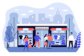 istock Consumers shopping in apparel boutique flat vector illustration 1211285105