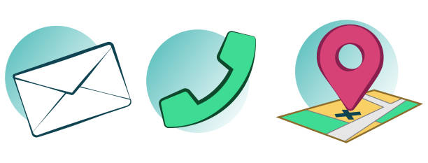 Contact and Location Icons vector art illustration