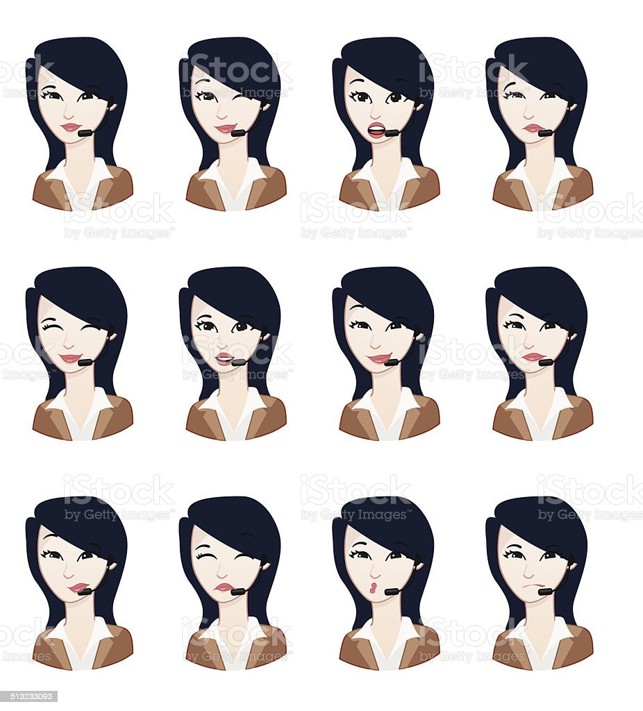 Contact Avatar:  Expression set vector art illustration