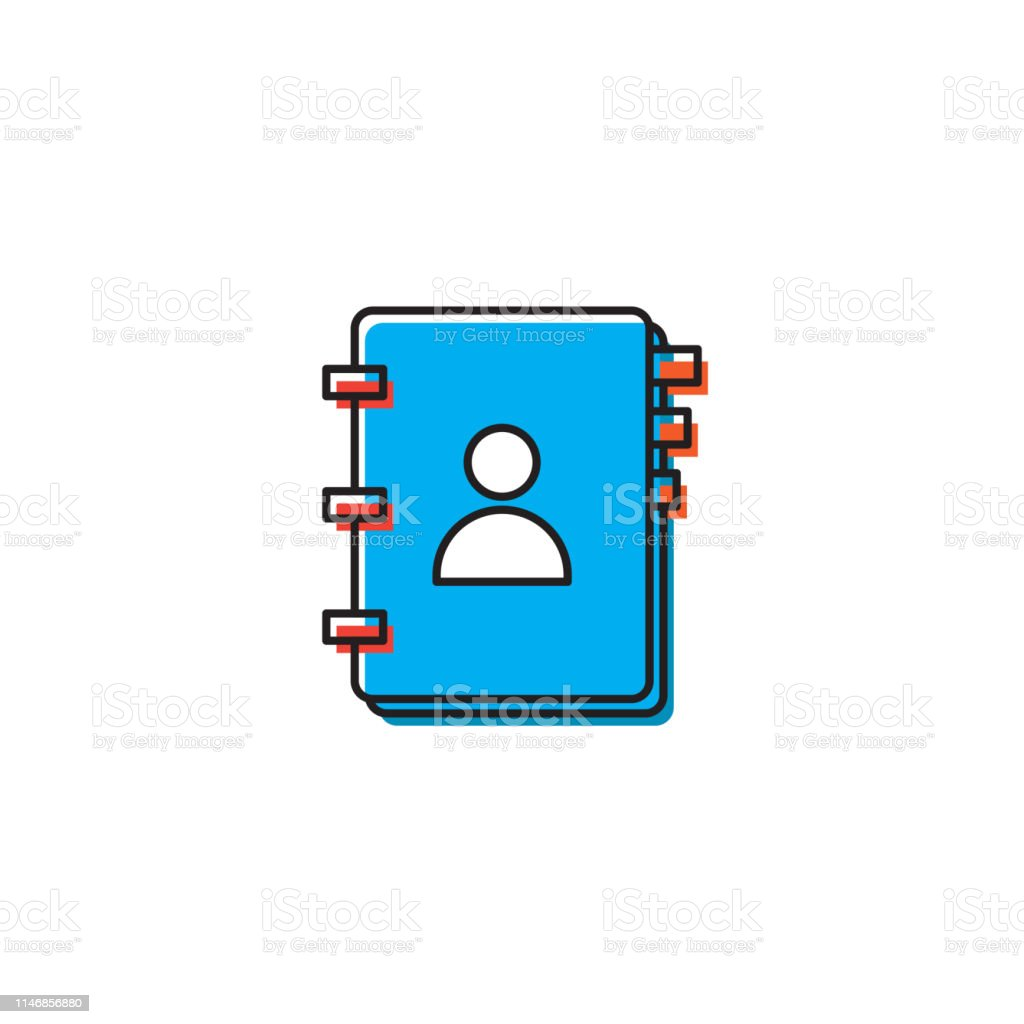 contact book, phone book vector icon concept, isolated on white...